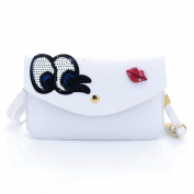 U-TIMES Women's Sequin Embroidery Eyes Red Lip Pattern PU Leather Flip Snap Shoulder Bag Crossbody Pouch