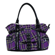 BANNED Clothing Punk Large TARTAN Handcuff Handbag Bag Goth ~ Purple