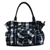 BANNED Clothing Punk Large TARTAN Handcuff Handbag Bag Goth ~ White