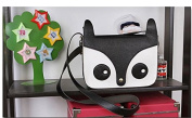 Rainbow Love Cartoon Raccoon PU Leather Shoulder Bag