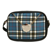 Women's Shoulder Bag Blue tartan bleu