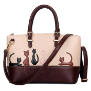 Women's Contrast Colour Leisure Cat Pattern PU Leather Bag Large Capacity Bag