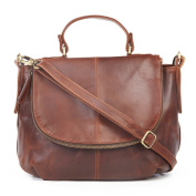 Abbey Leather Zip Grab Bag, Antique Brown