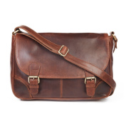 Camden Oiled Leather Satchel, Antique Brown