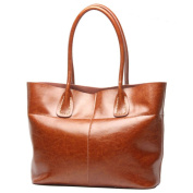BAIGIO Women Leather Shoulder Bag Tote Bag Handbag For Girl, Brown