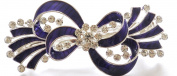 Bridal Wedding Prom Silver And Purple Tone Crystal 'Bow Ribbon' Barrette Hair Clip