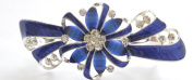 Bridal Wedding Prom Silver And Blue Tone Crystal 'Flower' Barrette Hair Clip