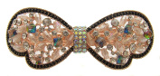 Pick A Gem Beaded and Crystal Butterfly Hair Barrette / Rose Gold Plated