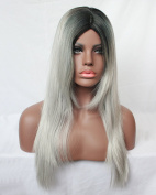 Fashion Long Middle Bangs Black Hair Root Grey Straight Capless Women's Wig for Ladies
