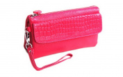 Soft Leather Women Smartphone Wristlet Cross body Wallet Clutch with credit card slots/Shoulder strap/Wrist Strap