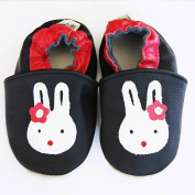 Soft Leather Baby pantouf Slippers with a Sole Soft Cushion, Rabbit, 18-30 Months