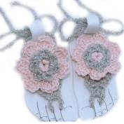 Pure Handmade Knit Flowers Barefoot Sandals Infant Toddler Baby Feet Decoration Pink¡