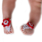Pure Handmade Knit Flowers Barefoot Sandals Infant Toddler Baby Feet Decoration Red¡