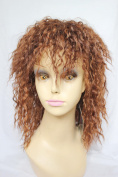Fashion Fluffy Afro Curly Brown Mixed Synthetic Medium Full Bangs Capless Wig For Women
