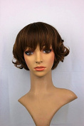 Fashion Short Curly Full Bangs Synthetic Brown Mixed Colour Cosplay Wig For Women