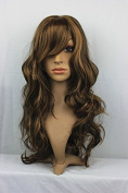 Fashion Long Wavy Side Bangs Synthetic Mixed Colour Capless Women's Wig for Ladies
