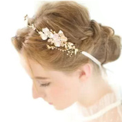 iEFiEL Gold Leaf Themed Crystal Pearl Bridal Wedding Party Hair Band Accessories