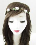 Ivory White Rose Flower Hair Crown Headband Garland Boho Plaited Festival B17 *EXCLUSIVELY SOLD BY STARCROSSED BEAUTY*