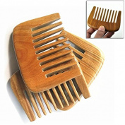 Hrph Tenflyer Handmade Wide Toothed Green Sandalwood Pocket Hair Comb Health Care Anti Static