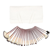 ashdown 24 Pcs Silver Rod Makeup Brush Cosmetic Set Kit with Beige Package