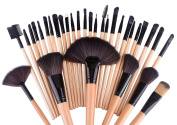 Quimat 32 Pieces Professional Superior Soft Makeup Brushes Set Synthetic Kakubi Cosmetic Foundation Blending Blush Eyeliner Face Powder Mac Makeup Brush Kit with Leather Traverl Pouch Bag Case