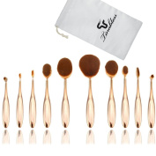 Tinabless 10pcs Toothbrush Oval Make UP Brushes Set Professional Makeup Brushes with Travel Bag