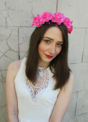 Hot Pink Rose Flower Hair Crown Headband Headdress Headpiece Garland Boho V79 *EXCLUSIVELY SOLD BY STARCROSSED BEAUTY*