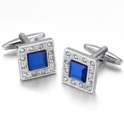 K Mega Jewellery Vintage Cufflinks for Mens Jewellery Shirt Cufflinks, Silver, Blue, Square, Crystal C024