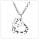 Always in my heart paw print heart shape charm / pendant necklace silver colour Pet lover necklace