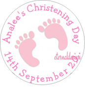 Eternal Design 12 x 63mm Glossy Christening Day White Stickers CDCS 11
