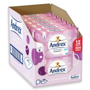 Andrex Washlets Gentle Clean Toilet Tissue Wipes - Pack of 12, 504 Wipes