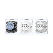 invisibobble Bobble Mix True Black, Innocent White, Crystal Clear, 1-Pack of 9