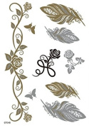 Spestyle New Design hot selling Golden Gold & Silver & Black Metallic Temporary Tattoos stickers roses,feathers and butterflies fashion design