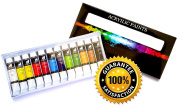 [18] Acrylic Paint Set Premium Quality for Artists, Students or Beginners - for Painting Canvas, Wood, Clay, Fabric, Nail Art, Ceramic & Crafts - Set of 18 x 12ml Unique Colours - Rich Pigments