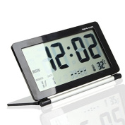 Goliton® LCD Display Digital Travel Desk Snooze Alarm Clock Time Calendar Thermometer - Black