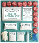 Bath Bomb Making Kit with 100% Pure Therapeutic Grade Essential Oils, (Makes 12 DIY Lush Cupcake Mould Bath Bombs), Gift Box Included.