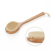 HOMEIDEAS Wooden Handle Bristle Bath Brush for Dry Skin and Body Brushing - Long, Wooden Handle, Natural Boar Bristles, Bamboo Body Spa Brush - Dry Body Brush for Cellulite, Exfoliation