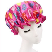 Fashion Design Stylish Reusable Shower cap with Beautiful pattern and colour (Adult Size, Hotpink