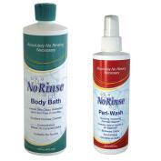 (Set) No Rinse 470ml Body Bath and 8 Fl Ounce Peri-Wash Bathing Products
