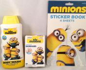 Bundle - Minions Body Wash, Adhesive Bandages & Stickers