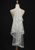 1t 1 Tier Flowers Edge Bridal Wedding Veil by SHUIWU