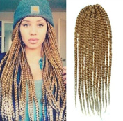 Honey Blonde to White Blonde Two Colours Ombre Crochet Braid Hair Extensions, Hair Braids Havana Mambo Twist Style Cuban Twist UF541