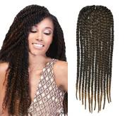 Black to Honey Blonde Two Colours Ombre Crochet Braid Hair Extensions, Hair Braids Havana Mambo Twist Style Cuban Twist UF537