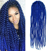 Blue Colour Crochet Braid Hair Extensions, Hair Braids Havana Mambo Twist Style Cuban Twist UF531