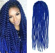 Blue Colour Crochet Braid Hair Extensions, Hair Braids Havana Mambo Twist Style Cuban Twist UF531