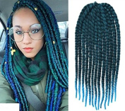 Off Black to Aqua Two Colours Ombre Crochet Braid Hair Extensions, Hair Braids Havana Mambo Twist Style Cuban Twist UF529
