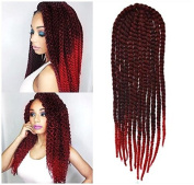 Off Black to Red Two Colours Ombre Crochet Braid Hair Extensions, Hair Braids Havana Mambo Twist Style Cuban Twist UF525