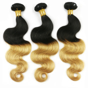 Cheap Brazilian Ombre Virgin Hair Body Wave Weft 3 Bundles 30cm TwoTone 100% Human Hair Extensions T1B/27# Colour