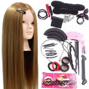 Neverland Beauty 60cm 50% Real Hair Training Head Hairdressing Mannequin Head With Makeup Function + Braid Set