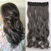 One Piece Clip in Hair Extensions 60cm curly half full head mixed colours hair piece blonde silver grey